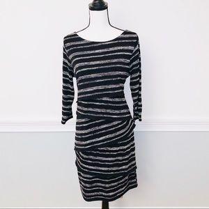 Women's Black/White Striped Tiered Dress